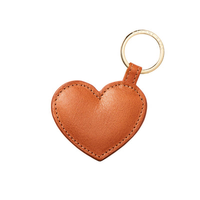 Personalized cognac leather heart keychain with gold monogram