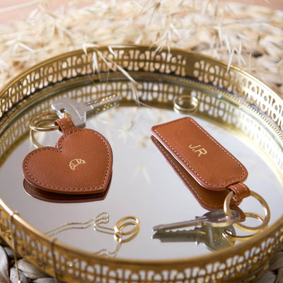 Personalized cognac leather keychains with gold monogram