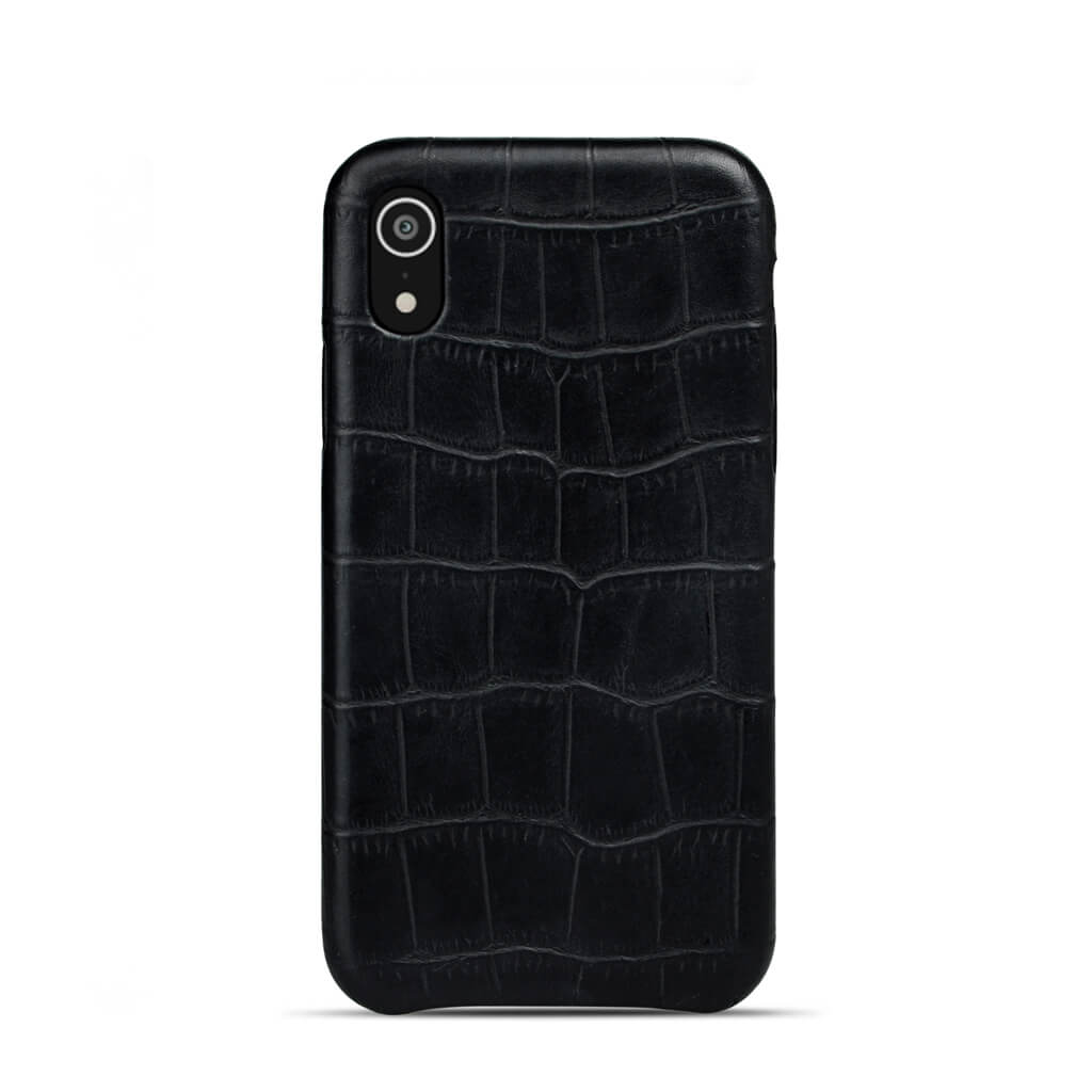 iPhone Xr case 'Chloë' black croco