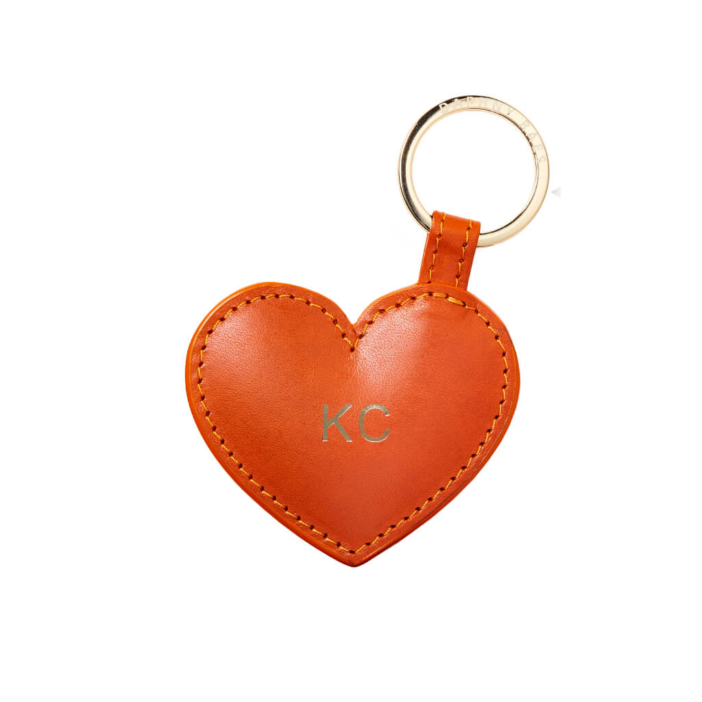 Personalized orange leather heart keychain with gold monogram