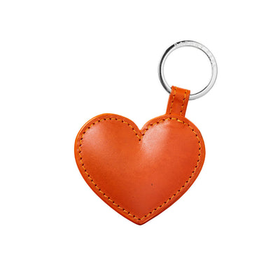 Personalized orange leather keychains with initials DAPHNY RAES