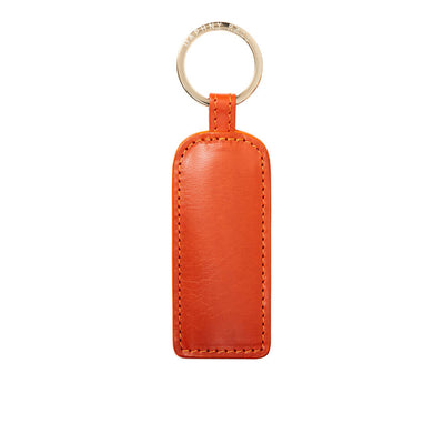 Personalized orange leather keychain with gold ring