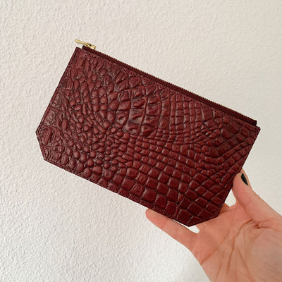 Sample Pouch 'Lisa' burgundy croco | gold
