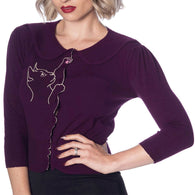 purple cat cardigan