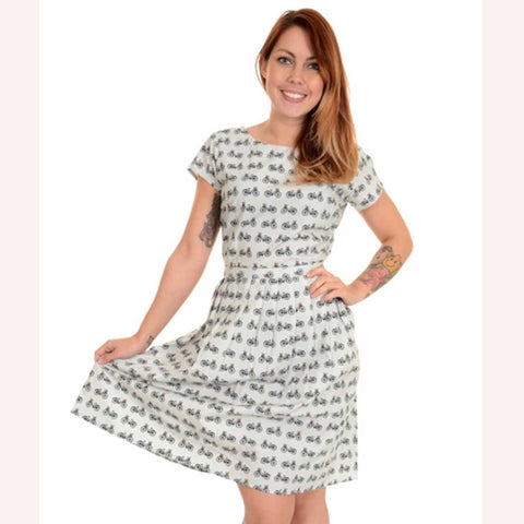 bicycle print dress