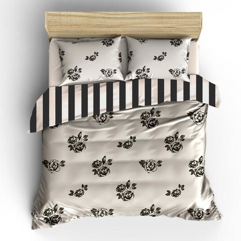 Bed of Roses Ebony & Ivory Bedding, REVERSIBLE