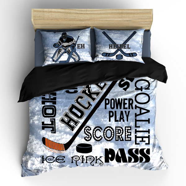 Hockey Goalie and Words Theme Bedding Set, Duvet or Comforter
