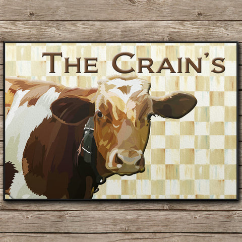 Checkerboard Country Cow Door Mat - 24x18""