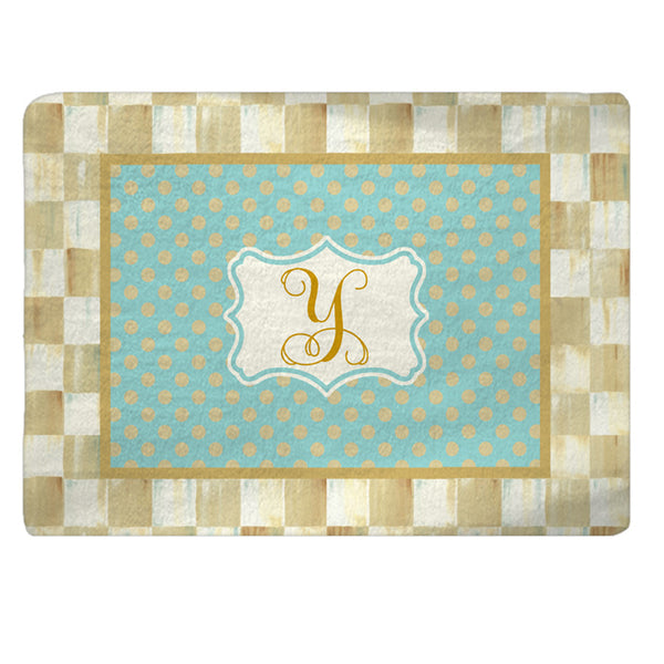 Checkerboard and Polka Dot Bath Mat