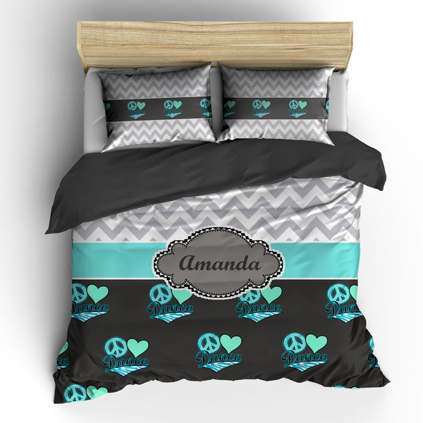 Chevron Peace Heart Dance Theme Bedding Set, Duvet or Comforter