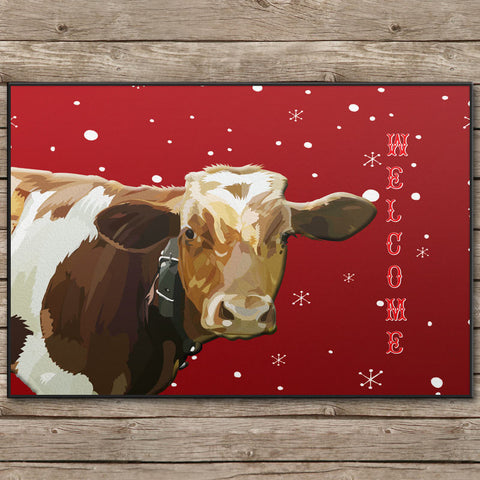 Christmas Cow Welcome Door Mat - 24x18 inches - Can also be Personalized With your TEXT or name