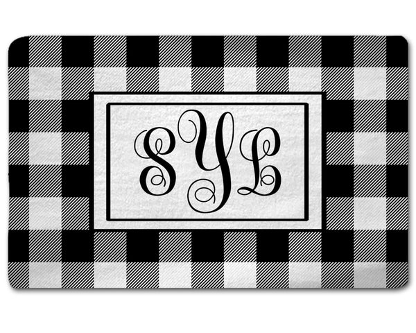 Buffalo Plaid Black and White Rug with Monogram
