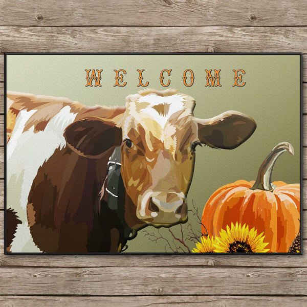 Country Cow Door Mat - 24x18 inches - Can also be Personalized With your TEXT or name