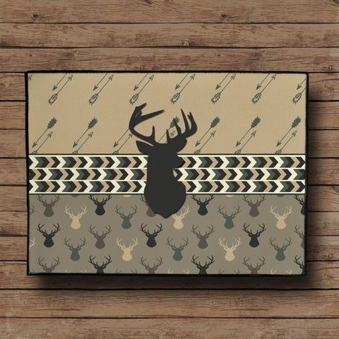 Deer Head and Arrows Door Mat - Camo Colors, 24x18""