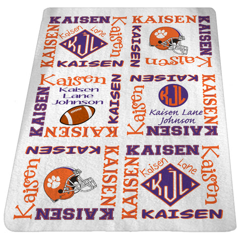 Personalized Football Baby Blanket Custom Baby Blanket Baby Name Blanket Clemson Baby Boy or Girl 30x40 FREESHIPPING
