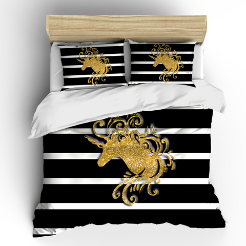 Gold Glitter Unicorn Bedding