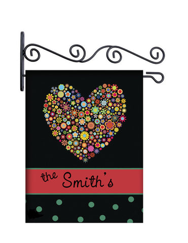 Floral Heart and Dots Personalized Yard Flag