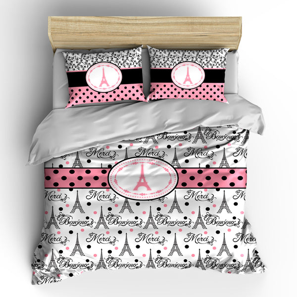 I Love Paris Designer Words and Eiffels Bedding