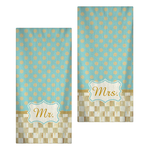 Mr and Mrs Bath or Beach Towel Pair