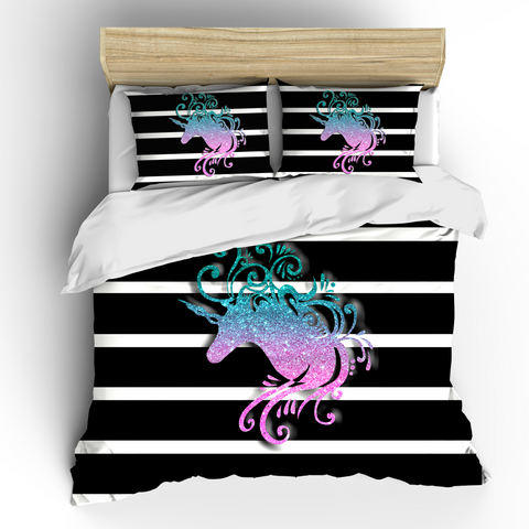 Multi Pastel Glitter Unicorn Bedding