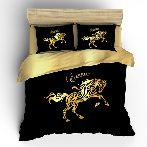Horse Gold Effect Bedding, REVERSIBLE