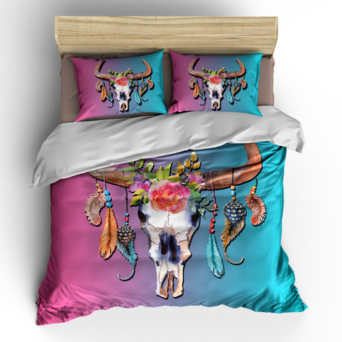 Boho Bull Skull Dream Catcher Duvet or Comforter Set