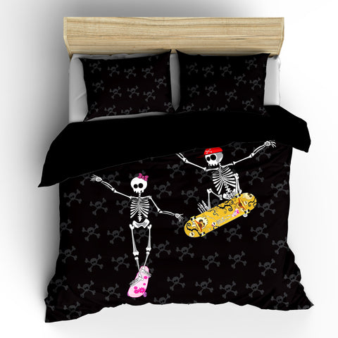 Skateboard Duo Skeletons Designer Bedding