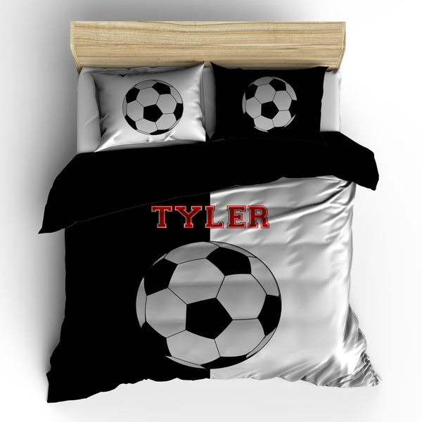 Soccer It's Black and White Bedding
