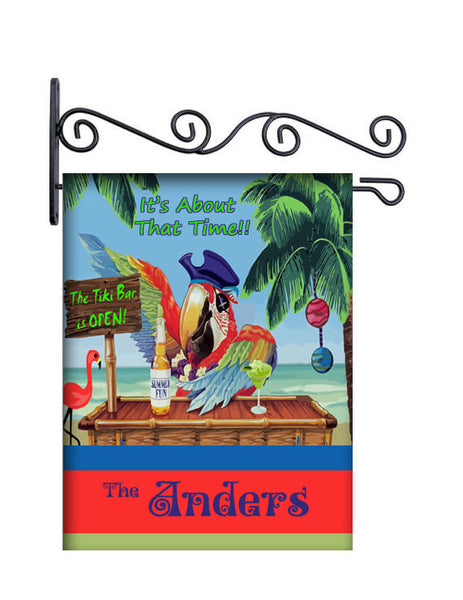 It's About That Time Pirate Parrot Personalized Yard Flag