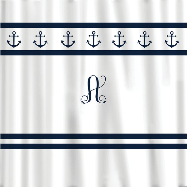Simplicity Anchors Nautical Shower Curtain