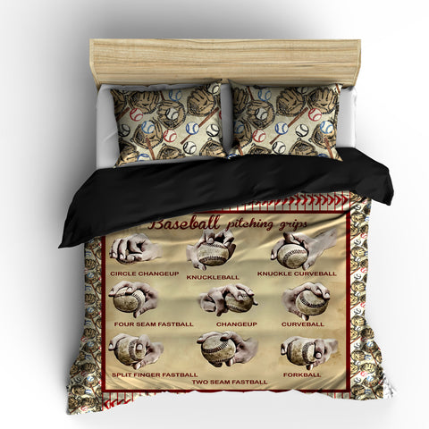 Baseball Pitching Grips Theme Bedding