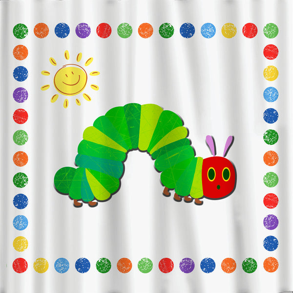 Caterpillar and Sun Theme Shower Curtain