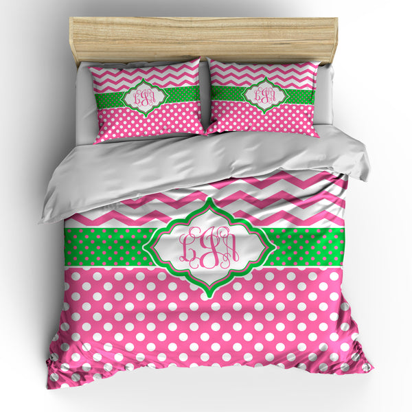 Chevron and Polka Dots Bedding