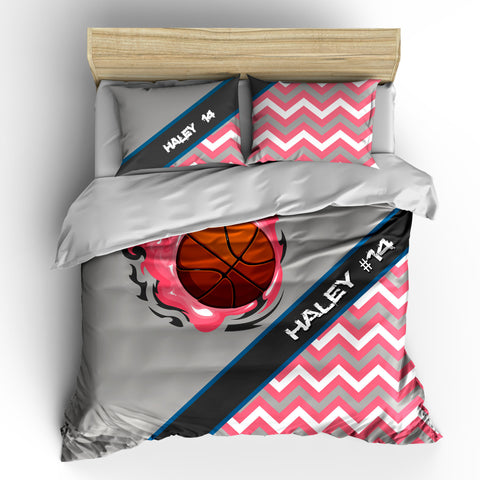 Chevron and Firey Pink Basketball Theme Bedding Set, Duvet or Comforter