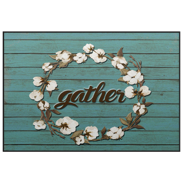 Cotton Wreath GATHER Door Mat