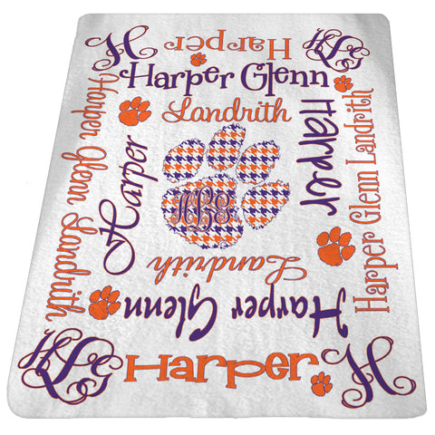 Personalized Baby Blanket Houndstooth Paw Custom Baby Blanket Baby Name Blanket Clemson Girl FREESHIPPING