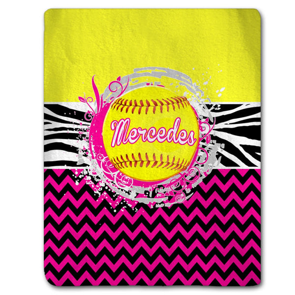 Softball Splash and Chevron Blanket, Personalized