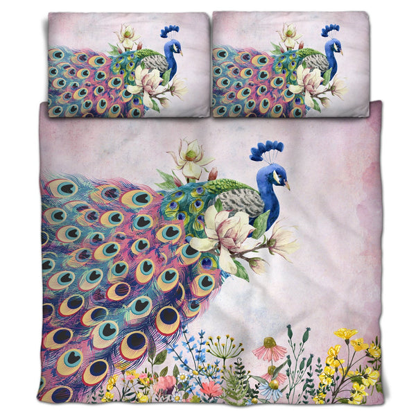Peacock Elegance Duvet or Comforter, Pink Version