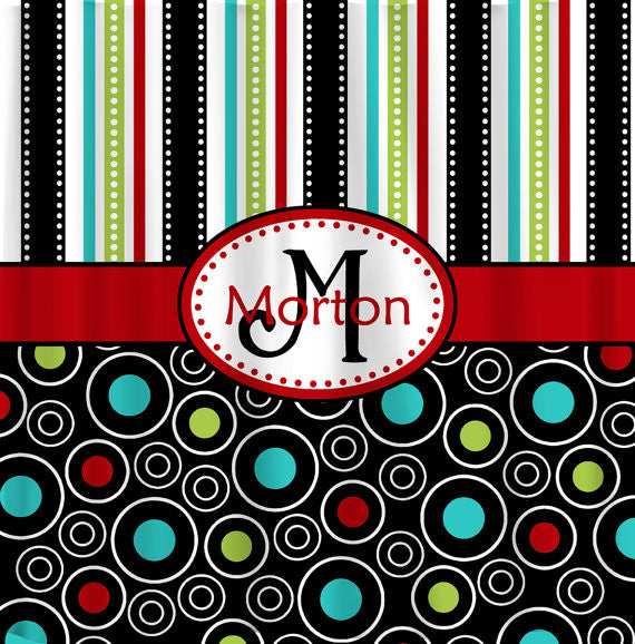 Mod Multi Stripes and Dots Personalized