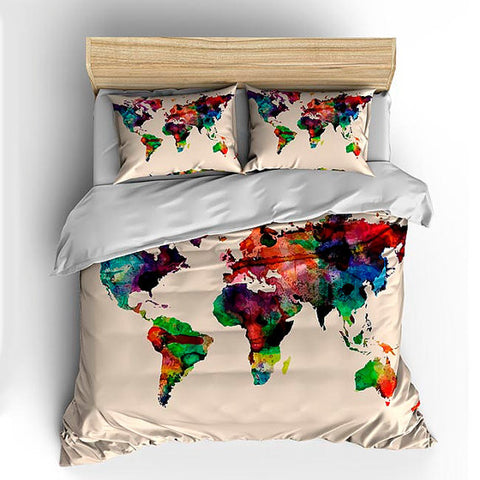 Watercolors World Map Custom Bedding on Natural Background