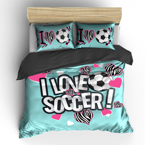 I Heart Zebra Soccer Bedding Set, Duvet or Comforter