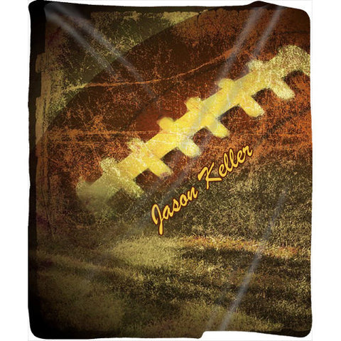 Personalized Grunge Football Plush Fleece Blanket