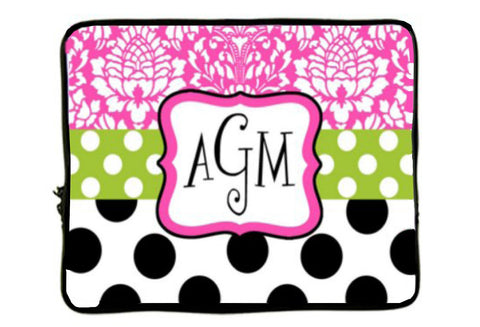 "Personalized Monogram Designer Style Laptop Sleeves - Any Design Pattern of your choice -13"" aND 17"""