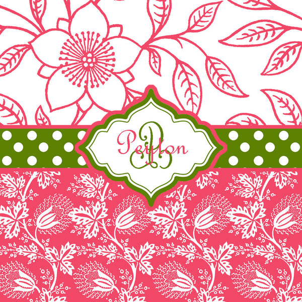 Lily P Inspired Shower Curtain - Personalized Your Initial(s) and/or names