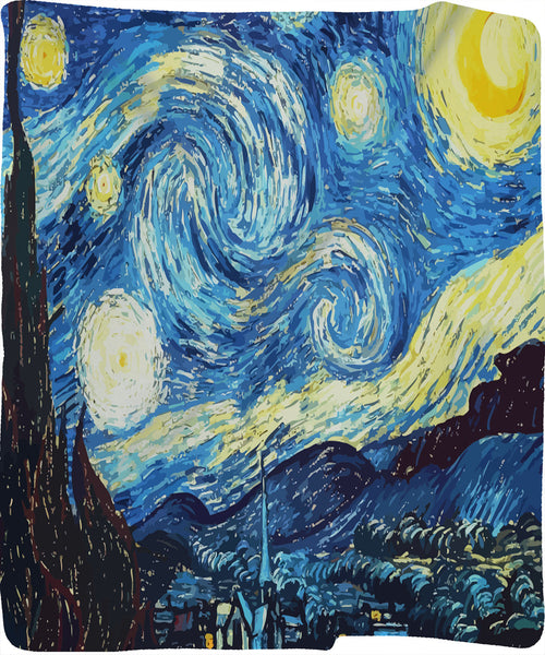 Starry Night Plush Fleece Blanket 60x50 -Reproduction design