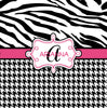 Personalized Classic Zebra and Houndstooth Shower Curtain - Personalized Your Initial(s) and/or names