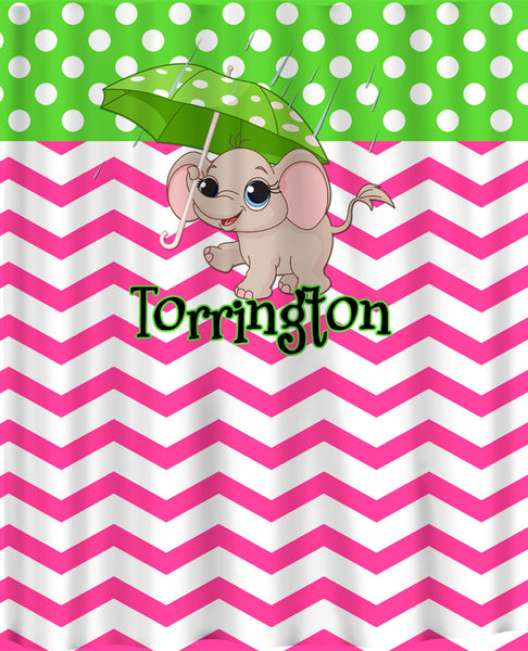 Personalized Custom Shower Curtain Baby Elepahnt on Hot Pink Chevron, Lime Dots OR any color