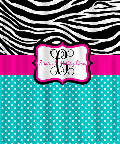 Personalized Shower Curtain -Custom with your Name or Initials -Zebra with any color combo and accent