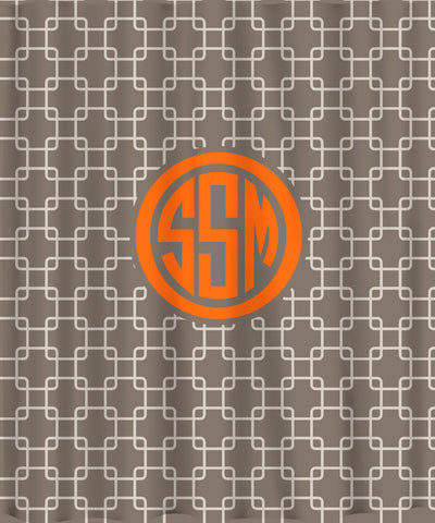Custom Personalized Bonnie's Link Shower Curtain - Summer Grey Taupe and Cream with Orange Accent - Available any colors