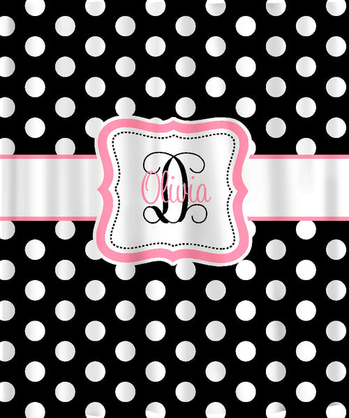 Personalized Shower Curtain - Black & White Polka Dots -any accent color